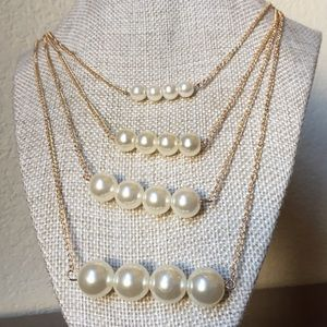 Multi-layer Necklace simulated Pearl Crystal Beads